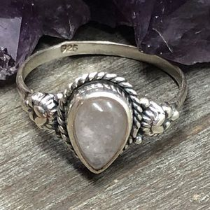 Sterling silver dainty rose quartz 925 stamp ring